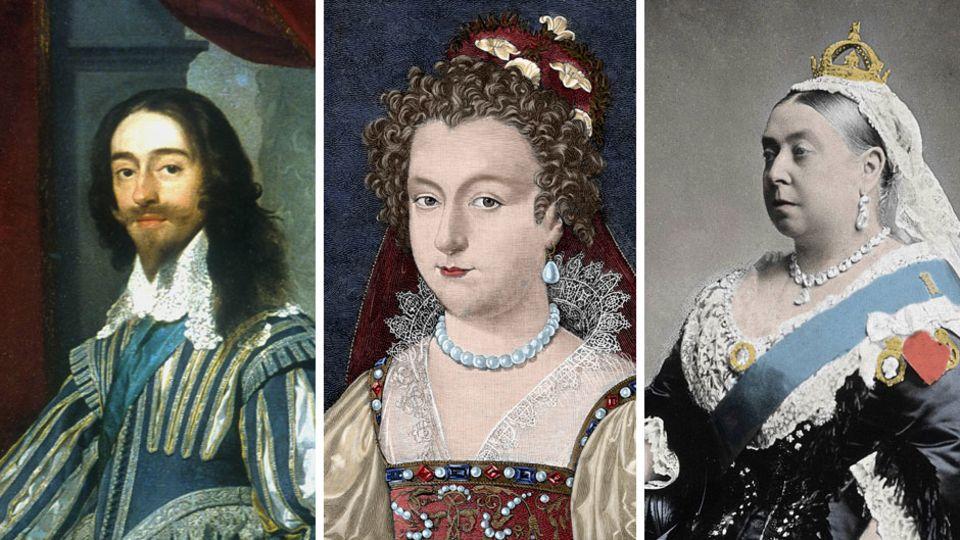 King Charles I., Queen Elizabeth I. und Queen Victoria (v.l.)