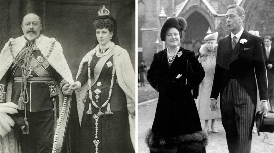 König Edward VII. mi Gemahlin Alexandra (l.) und Queen Mum mit Ehemann George