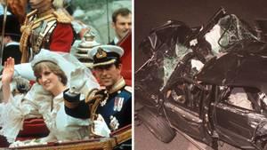 Die Hochzeit von Charles und Diana 1981 und das Unfallwrack bei ihrem tödlichen Crash 1997