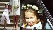 Lachen, Tanzen, Grimassen ziehen: Prinzessin Charlotte amüsierte die Gäste der Royal Wedding