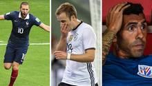 Eine Kombo zeigt die frei Fußballer Karim Benzema, Mario Götze und Carlos Tevez. Sie fahren nicht zur Fußball-WM in Russland.
