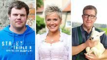 """Inka Bause /M.) präsentiert auch die 14. Staffel von """"Bauer sucht Frau"""", in der die LandwirteHendrik (l.) und Dirk (r.) nach Liebe suchen"""