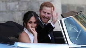 Abfahrt zur Party: Meghan Markle und Prinz Harry auf dem Weg nach Frogmore House
