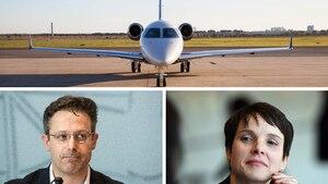 Die früheren AfD-Politiker Marcus Pretzell und Frauke Petry, eine Maschine vom Typ Embraer Legacy 450