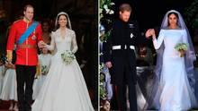 Herzogin Kate bei ihrer Hochzeit mit Prinz William (l.) und Meghan Markle nach der Trauung mit Prinz Harry
