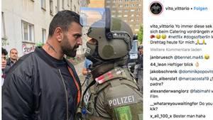 Instagram-Post von Vito Pirbazari: Ein aggressiver Mann starrt einem Polizisten in die Augen