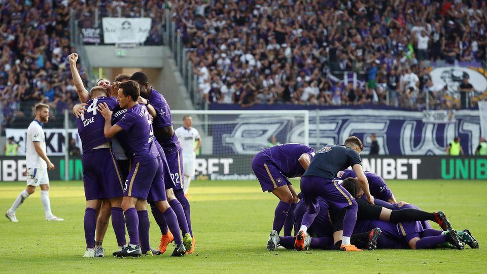 Relegation Aue Torjubel