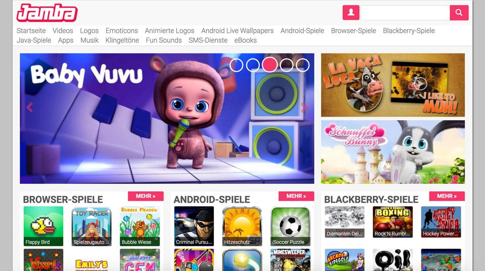 Screenshot von Jamba.de