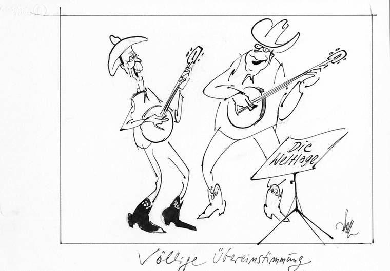 Ohne große Dissonanzen verlief der Besuch von Bundeskanzlerin Angela Merkel bei US-Präsident Donald Trump. Der Osnabrücker Karikaturist Fritz Wolf bemühte früher gern die Welt der Musik, um nicht nur das transatlantische Miteinander aufs Korn zu nehmen.