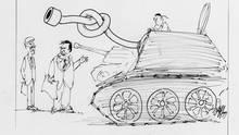 Deutsche Panzer für die Türkei? Der Osnabrücker Karikaturist Fritz Wolf hat 1999 mit einer Karikatur seinen persönlichen Lösungsvorschlag unterbreitet.