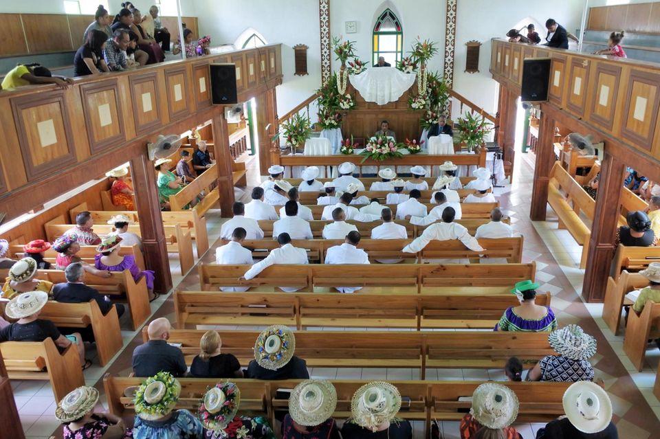 Kirchgang am Sonntag in Rarotonga: Fast alle Bewohner der Cook Islands sind Christen