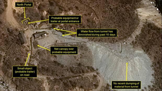 Nordkorea - Blick auf die Atomanlage Punggye-ri