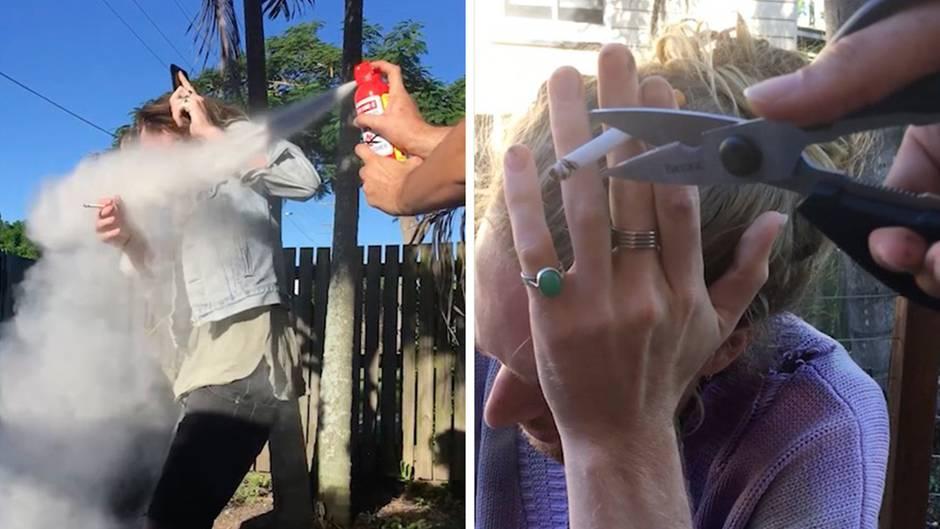 Extreme Streiche: Mit Schere und Feuerlöscher –So bringt man Freunde vom Rauchen ab