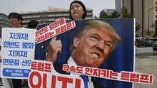 Protest in Seoul gegen Donald Trump nach Absage des Nordkorea-Gipfels