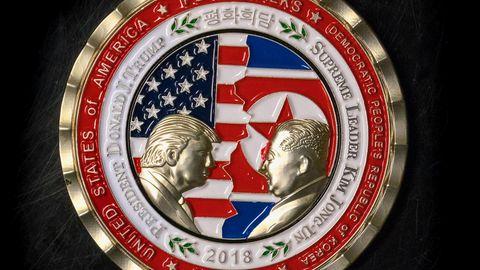 Gedenkmünze zu den Friedensgesprächen von Donald Trump und Kim Jong Un