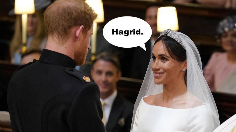Prinz Harry und Meghan Markle stehen bei ihrer Hochzeit vorm Altar