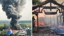 Mitten auf dem Gelände des Europa-Parks bricht in einer Lagerfeuer ein Feuer aus.