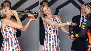 28. Mai 2018  Läuft bei Charlène: Monacos Fürstin kippt Magnumflasche Champagner  Wenn in Monaco das Formel-1-Rennen stattfindet, darf die Fürstenfamilie nicht fehlen. Nicht nur Andrea und Pierre Casiraghi, die Söhne von Prinzessin Caroline, ließen sich auf dem Podium blicken, auch Fürst Albert persönlich gratulierte dem GewinnerDaniel Ricciardo. Den lustigsten Auftritt legte allerdings Fürstin Charlène hin: Die 40-Jährige schnappte sich kurzerhand die Magnumflasche Champagner und nahm einen riesigen Schluck aus der Pulle. Über so viel Spontanität musste nicht nur die Fürstin selbst lachen.