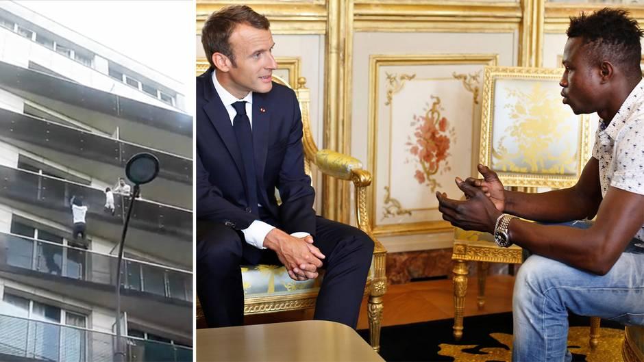 """Pariser """"Spiderman"""": Macron trifft den jüngsten Helden aus Paris – und macht ihm ein verlockendes Angebot"""