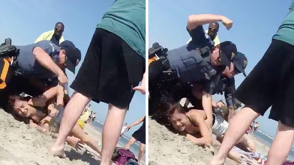 Brutale Festnahme: US-Polizist schlägt junger Mutter am Strand mehrmals gegen den Kopf