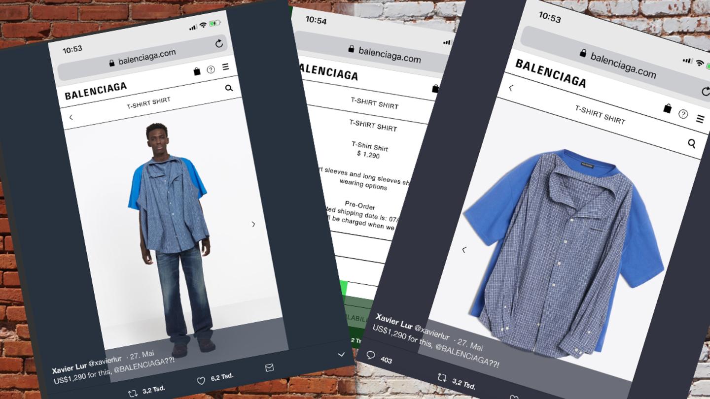 Balenciaga verkauft jetzt T-Shirt mit angenähten Hemden für 1100 Euro