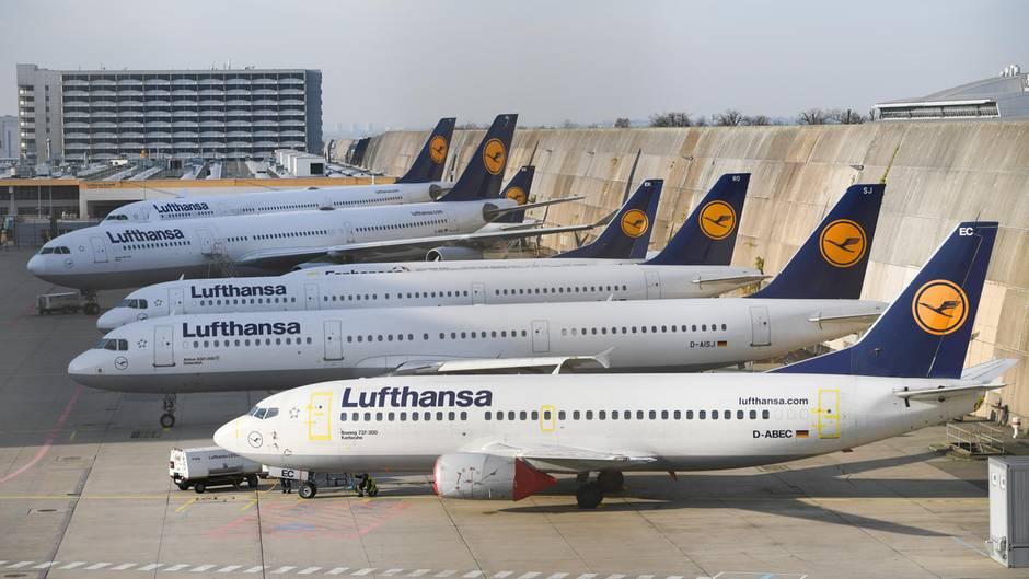 Lufthansa-Maschinen am Flughafen von Frankfurt am Main