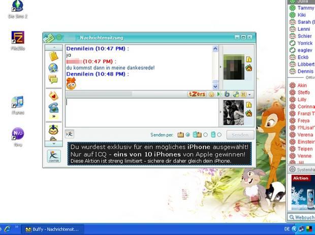 """Der einzige Screenshot von ICQ, den ich von mir noch finden konnte, übrigens aus dem Jahr 2007. Stilecht mit Bambi-Wallpaper und """"Sims 2"""" auf dem Desktop."""