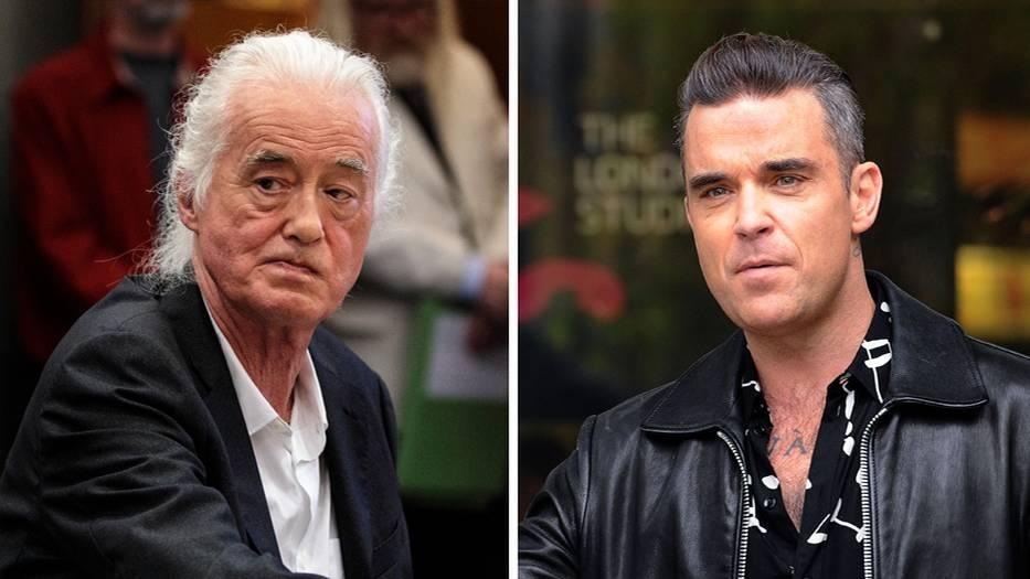 Die Bildkombo zeigt Jimmy Page (links) und Robbie Williams.