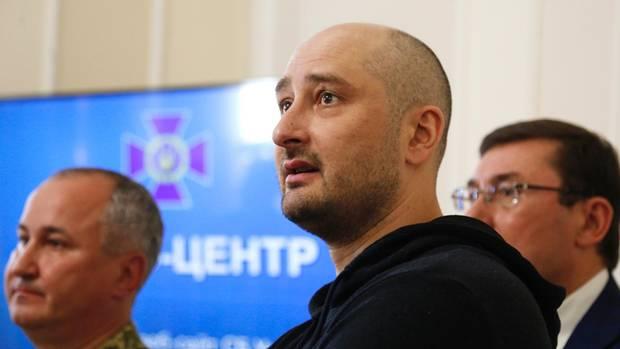 Der russische Journalist Arkadi Babtschenko auf einer Pressekonferenz in Kiew