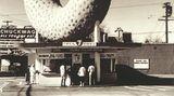 In der Nähe des internationalen Flughafens von Los Angeles steht bis heute in Inglewood diese Bäckerei mit dem überdimensionalen Donut auf dem Dach: Das Big Donut Drive-In heißt heute Randy's Donut - hier in einer Aufnahme von 1935.