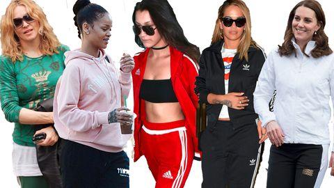 Hauptsache bequem: Stars wie Madonna (l.) oder Rihanna lieben ihre Jogginghosen. Selbst Herzogin Catherine (r.) zeigte sich schon öffentlich im sportlichen Outfit.
