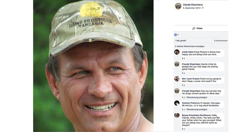 Der getötete Großwildjäger Claude Kleynhans
