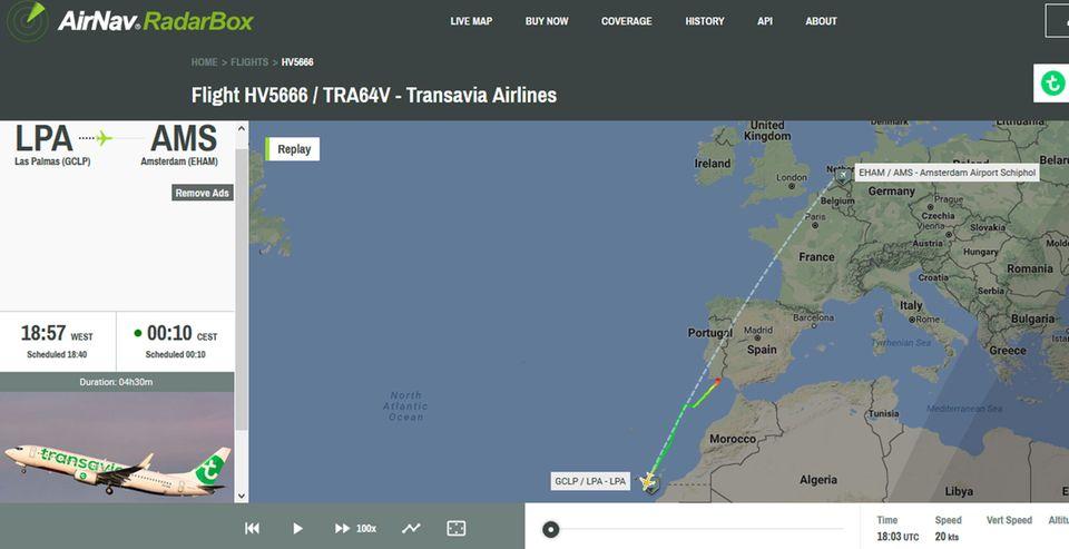 Die geplante Route der Boeing 737 von Transavia auf dem Weg von Las Palmas auf Gran Canaria nach Amsterdam mit der ungeplanten Zwischenlandung in Faro.