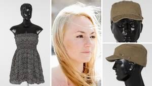 Melanie R. aus Berlin und ihr Kleid, die Mütze des Täters auf Aufnahmen der Polizei