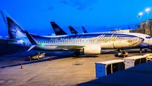 Ein fliegender Fisch: Alaska Airlines promoted die Fischfarm-Industrie in Alaska mit einem auf dem Rumpf aufgetragenen Wildlachs.