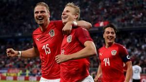 Österreich feiert den zwischenzeitlichen Ausgleich im Freundschaftsspiel gegen Deutschland