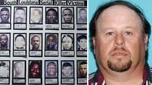 Ronald Joseph Dominique (r.) und die Bilder seiner Opfer