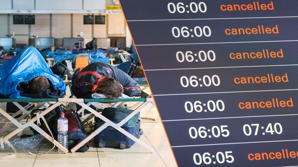 Die Anzeigetafel im Flughafen Hamburg zeigte am 3. Juni nur gestrichene Verbindungen an. Der Airport musste den Betrieb nach einem Stromausfall komplett eingestellten.