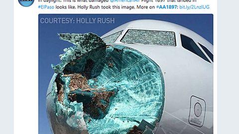 Die zerstörte Frontpartie des Airbus A319 nach der Landung in El Paso, Texas