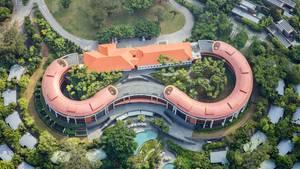 Der Ort des Gipfeltreffens aus der Luft: Das Capella Resort Singapore liegtauf einerdem Stadtstaat vorgelagerten Insel. Deutlich sind das historische Haupthaus und die runden Anbauten zu erkennen.