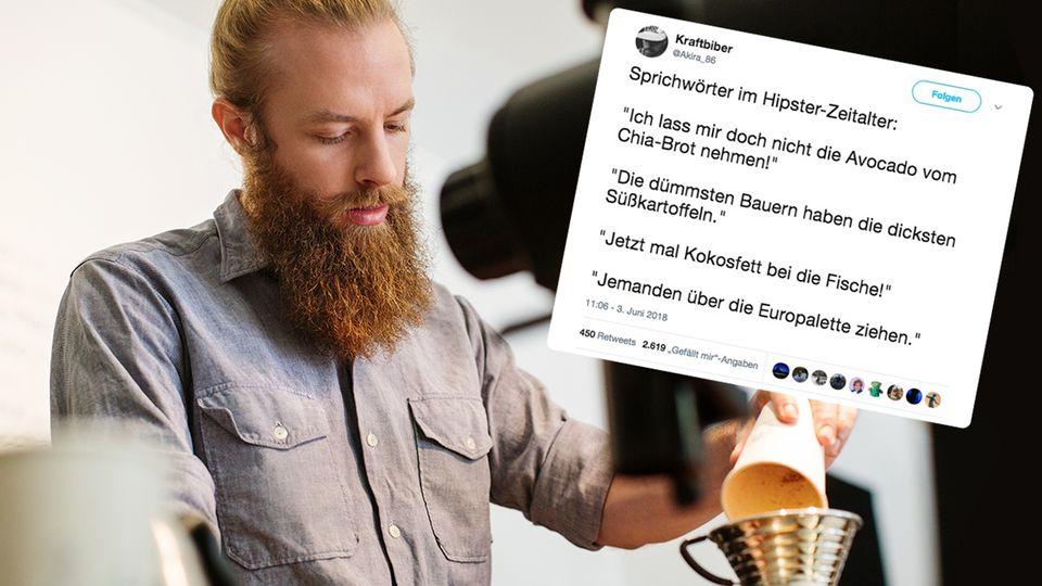 Ein Hipster-Barista mit Bart und Man Bun macht einen Kaffee