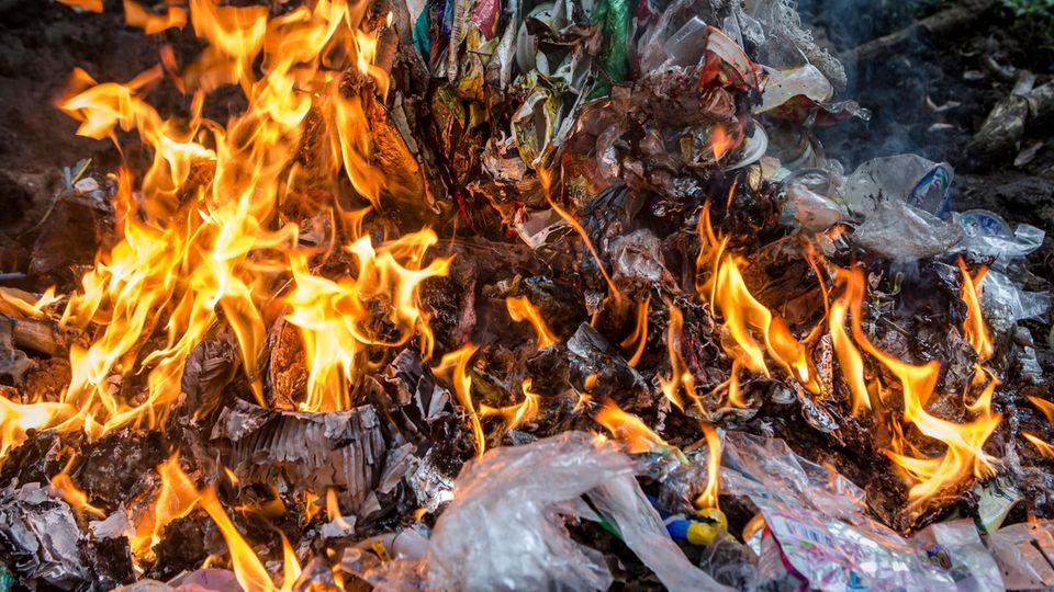 Inmitten einer Gewürzplantage wird Plastik verbrannt