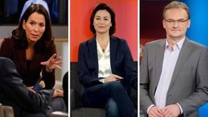 Die Talkshow-Moderatoren Anne Will (l.), Sandra Maischberger und Frank Plasberg