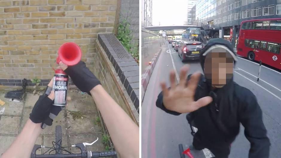 Konflikt auf dem Radweg: Radler erschreckt Fußgänger mit Drucklufthupe – doch die radikale Aktion hat Folgen