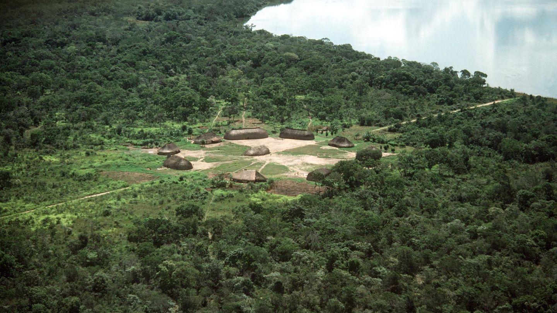 Blick auf ein Dorf der Kamayura-Indianer an einem See im Nationalpark Rio Xingu