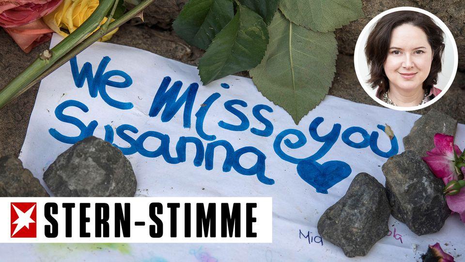 In der Nähe des Fundortes der Leiche von Susanna F. haben Menschen persönliche Trauerbekundungen abgelegt. Der Fall zeigt wesentlicheSchwachstellen in der deutschen Asylpolitik auf, schreibt unserestern-Stimme SylviaSteinitz.