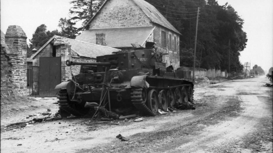 Ein zerstörter Cromwell-Panzer.