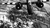 Bombenangriff  Ein zweimotoriges amerikanisches Kampfflugzeug vom Typ A-20 Havoc greift in der Region Cotentin Stellungen und Nachschubwege der Wehrmacht an. Am Boden steigen Wolken vorangegangener Explosionen auf.