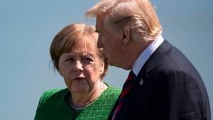 Angela Merkel undUS Präsident Donald Trump auf dem G7-Gipfel in La Malbaie, Kanada