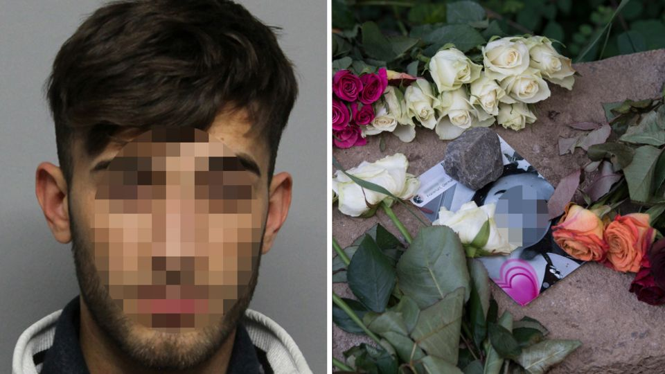 Der im Irak gefasste Ali B., Blumen und Bilder am Fundort der Leiche von Susanna in Wiesbaden